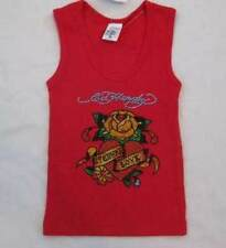 ED HARDY toddler girls 2 2T rhinestones crystals Love flower tank top red NEW