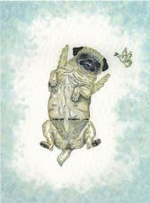 Pug  Angel dog  Watercolour/ink Painting  Pugs  by Bridgette Lee