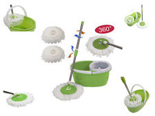 GREEN 360° ROTATING SPINNING MOP & BUCKET SET W/ 2 MICROFIBRE CLEANING PADS HOME