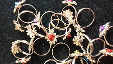JOB LOT OF 20 PARTY RHINESTONE FLOWER RINGS