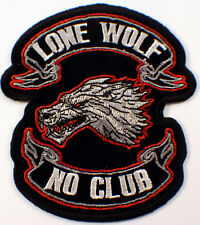 "Lone Wolf No Club Bike 10"" X 11"" Motorcycle Uniform Back Patch Biker #Xl"
