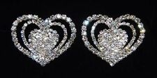 Gorgeous Pave Open Triple Heart  Shoe Clips Charms--1 Pair-Bridal Party-