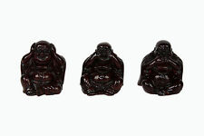 Set of 3 Happy Buddha Statue Figurine Hear No, See No, Speak No Evil Red
