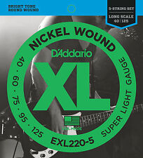 D'ADDARIO EXL220-5  NICKEL WOUND BASS STRINGS, SUPER LIGHT GAUGE 5's - 40-125