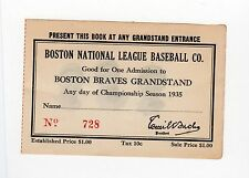 1935 Boston Braves pass Ticket Babe Ruth HR 709 Opening Day/NL Debut Off Hubbell