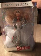 1992 Happy Holidays Christmas Speciall Ed BARBIE Doll White Silver Gown NIB