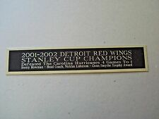 Detroit Red Wings 2001-2002 Stanley Cup Nameplate Hockey Jersey Case 1.25 X 6