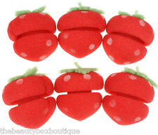 6 x Strawberry Hair Rollers - Soft Ball Sponge Hair Care Curler Hair Tool