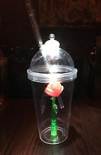 Disney Beauty & The Beast Enchanted Light Up Rose Souvenir Sipper Tumbler Cup