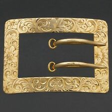 Victorian, 14K Yellow Gold, Antique Sash, Belt Buckle Brooch, Pin