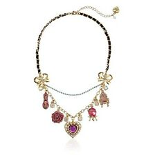 Betsey Johnson Imperial Throne Heart Shoe Flower Charm Statement Necklace! NIB