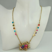 Betsey Johnson Colorful Stone and Crystal Pendant Necklace