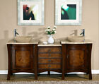 72-inch Modern Travertine Top Double Bathroom Vessel Sink Vanity Cabinet 0714TR