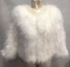 Luxury Women 100% Real Soft Ostrich Feather Fur Leadies Jacket