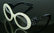 RARE NEW Genuine PRADA Ornate Ivory Black Baroque Crystal Sunglasses SPR 31P PR