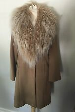 CINZIA ROCCA Wool & Cashmere Curly Sheep Fur Collar Camel Coat Jacket Sz 4 6 EUC