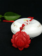 Chinese Natural Red Organic Cinnabar Lotus Necklace Pendant Lucky Amulet Hot