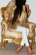 WONDERFUL GOLDEN ISLAND RED SAGA FOX REAL FUR COAT SLEEVELESS JACKET VEST HOOD L