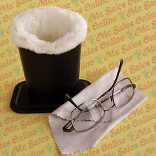 Black Plush Eyeglass Stand Holder, Protects and Stores Glasses w. Cleaning Cloth