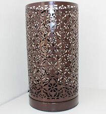 Table Lamp Light Stunning Moroccan Style Cutwork Metal Chocolate Brand New