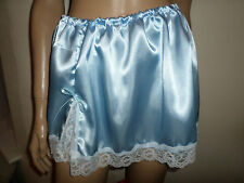 "BLUE SATIN LACE MINI PETTICOAT 13""  LONG  30-46 WAIST"