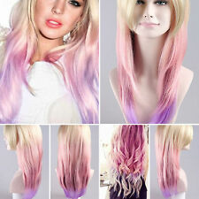 Women's Fashion Blonde & Pink/Purple Ombre Wig (Celeb Style) | HD-1016