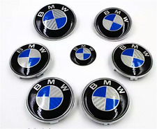 personality 7pcs blue/White BMW Carbon Fiber Style Emblem Logo Badge Set