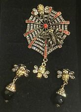 """Heidi Daus """"Along Came a Spider"""" Pin/Earrings Set"""