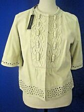 ELIE TAHARI Embroidered Stone Suede NEW Sophisticated Jacket M