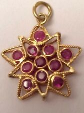 18k Ruby Red Star Pendant Artisticly Created