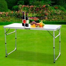 4FT Adjustable Heigt Outdoor Portable Aluminum Camping Picnic Folding Table