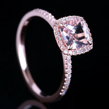 10K Rose Gold Pink Morganite Ring Natural Diamond Claw Prongs Wedding Ring 6.5#