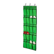 Green Honey Can Do 20 Pocket Over The Door Shoe Organizer Hanging for 10 Pairs