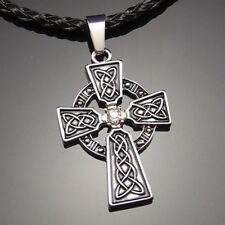 "Irish Celtic Knot CZ Cross Pewter Pendant with 20"" Choker Necklace PP#251"