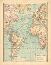 1902 MAP ~ ATLANTIC OCEAN ~ STEAMER ROUTES CABLES RAILWAYS BRITISH POSSESSIONS