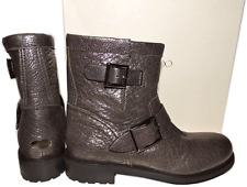 $1050 Jimmy Choo  Brown Leather Biker YOUTH Motorcycle Boot Ankle Bootie 39