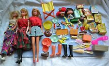 3 Vintage 1966 Barbies(Twist&Turn, Bendable) &Accessories, Mini GroceryBoxes,Etc