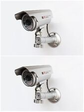 Fake Security Cameras x 2 - Latest Design - Solar Powered Red LED Light