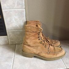 Mens Vintage Wolverine Tan Brown Suede Leather Lace Up WORK BOOTS SZ 8.5 D