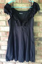 ARMANI EXCHANGE Womens Black Beaded Ruffle Off-Shoulder Sleeve Bubble Dress XS