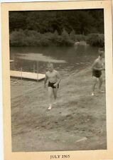 Old Antique Vintage Photograph Young Men Swimming At Lake