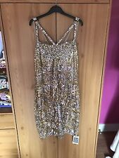 Virgos Lounge Gold Sequin Cocktail Dress Size Uk12
