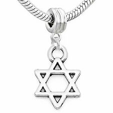 Lucky Star of David Charm Dangle European Bead Compatible for Most European Snak