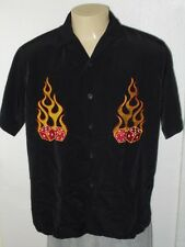 DRAGONFLY FLAMING DICE EMBROIDERED BLACK RETRO CASINO LOUNGE CAMP SHIRT MEN'S L
