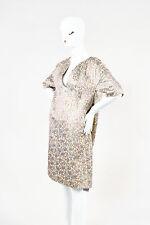 Dries Van Noten Beige Mauve Teal Cotton Silk Jacquard SS Shift Dress SZ 40