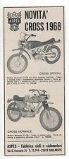 Pubblicità epoca 1968 MOTO ASPES CROSS MOTOR GALLARATE advert werbung publicitè