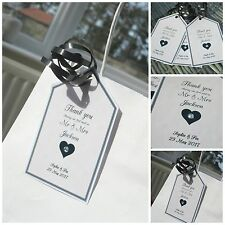 5 x Crystal Personalised Wedding Favour Gift Tags Gift labels cream/black guests