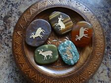 *DEER* Carved Worry Stone Gemstone Totem Wiccan Pagan Familiar Metaphysical