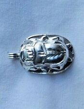 Egyptian Sterling Silver Cut Out Scarab Pendant #129