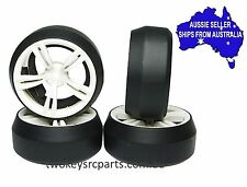 Wheels & drift tyres for 1:10 RC cars White 5S 2 rib +3 offset may fit HSP HPI